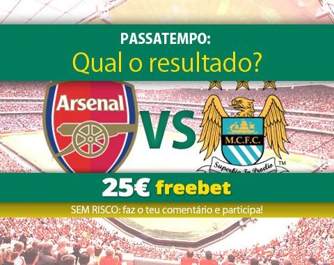 Acerta no resultado do Arsenal vs Manchester City e ganha 25€