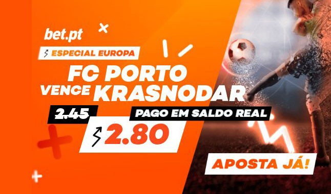FC Porto odd: aumentada na Liga dos Campeões contra Krasnodar