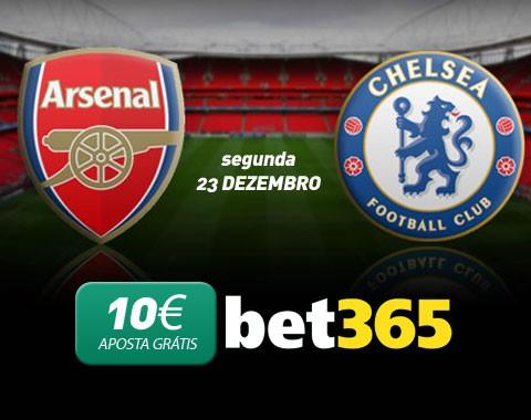 Aposta Grátis de 10€ no Arsenal vs Chelsea de 23 Dezembro 2013