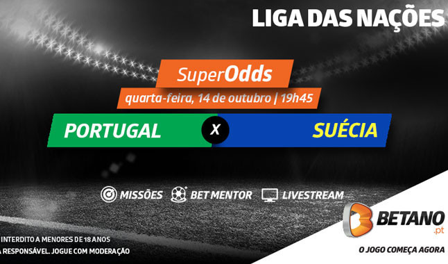 Melhores Odds Betano para o Portugal - Suécia