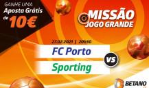 SuperOdds no Porto vs Sporting e 10€ grátis