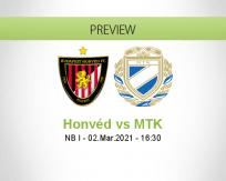 Honvéd MTK betting prediction (02 March 2021)
