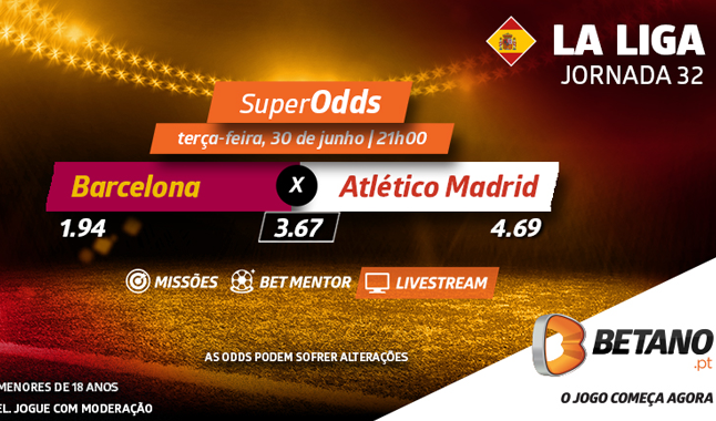 SuperOdds no Barcelona vs Atlético Madrid