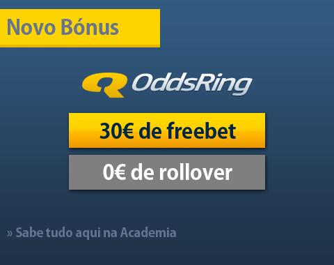 Bónus de boas-vindas completamente sem risco até 30€ na OddsRing