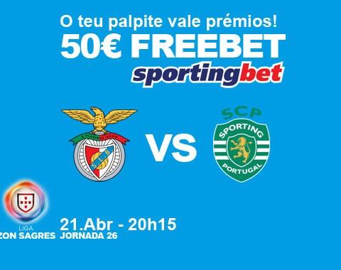 Acerta no resultado do Benfica vs Sporting e ganha um prémio de 50€