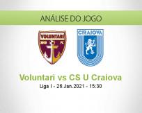Prognóstico Voluntari CS U Craiova (26 Janeiro 2021)