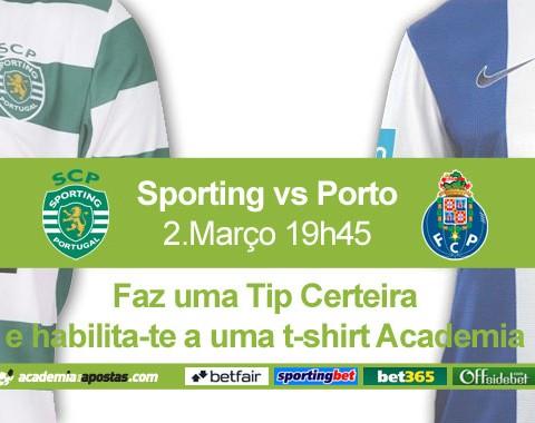 Tips certeiras no Sporting vs Porto valem t-shirts Academia