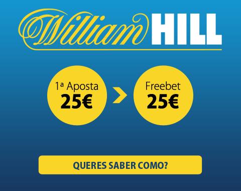 William Hill com bónus freebet de 100% da 1ª aposta até 25€